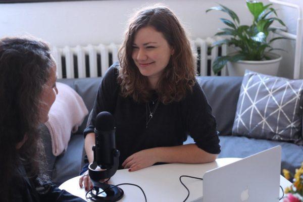 Girls having podcast